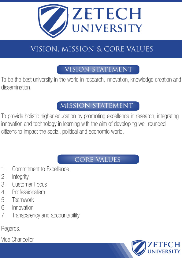 ZU VISION, MISSION AND CORE VALUES